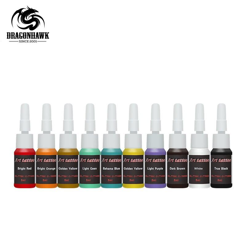 De haute qualité De Tatouage Fournitures 10 Couleur encres 5 ml/Bouteille Ensemble Complet D'alimentation en encre de Tatouage