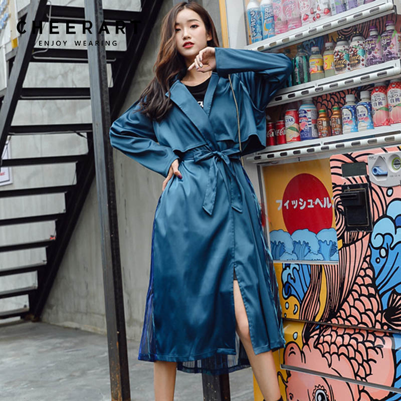Cheerart High Street Green Long   Trench   Coat Women Pleated Tail Coat Ladies Belted Coats Patchwork   Trench   Windbreaker 2018