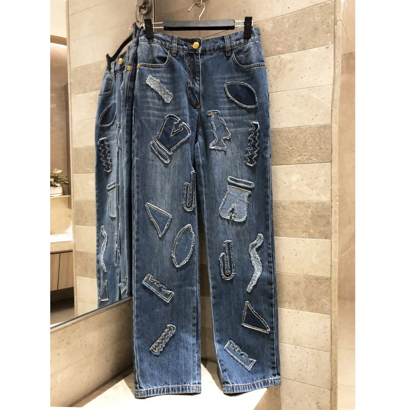 Casual women's   jeans   patch trousers women's high street straight   jeans   high quality women's clothing