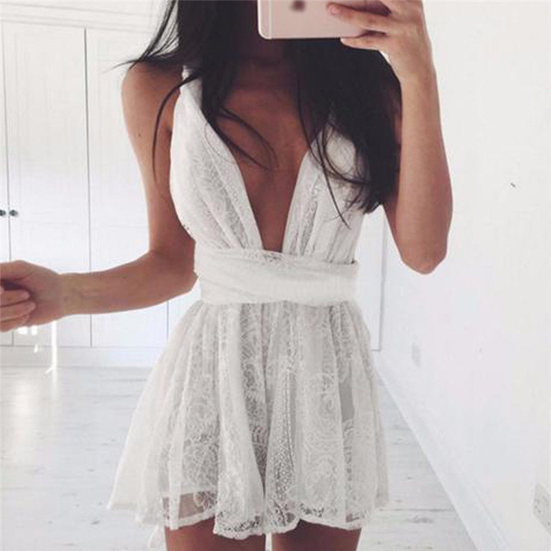 Women Mini Dress Prom Evening Party Summer Beach Boho Holiday Dresses Women Polyester Empire Tank V