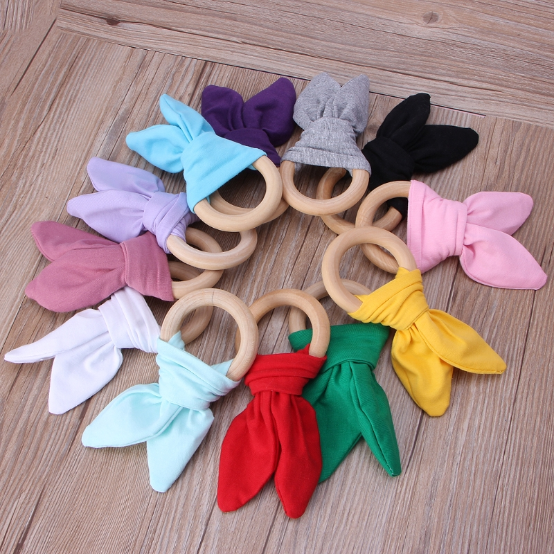 NEW Bunny Ear Teether Fabric Wooden Teething Ring With Crinkle Material Shower Gift For Infant Wood Teether Newborn Toys