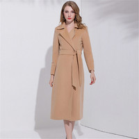 Extravagant Coat 2017 Women Turn Down Collar Belt Wool Blends Coat Waisted Long Camel Color Trench