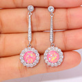 "New Style ! Fashion & Wholesale & Retail For Women Jewelry Pink Fire Opal & Cubic Zirconia Silver Earrings 1 1/2"" OH2220"