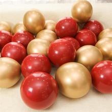 10pcs 10inch Garnet Red Balloon Metal Pearl Latex Balloons Chrome Metallic Colors Air Globos Wedding Party Decoration