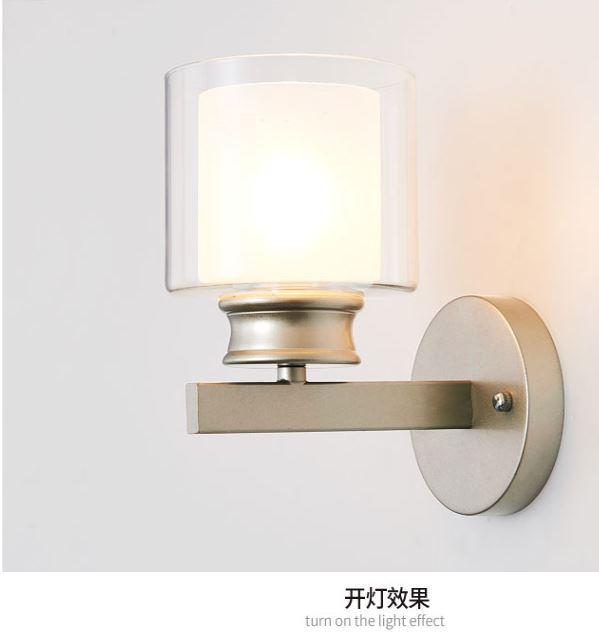 HTB16sY3DeSSBuNjy0Flq6zBpVXa4 - Bedroom bedside wall lamp modern minimalist living room study LED TV wall lamp glass lampshade aisle lamp atmosphere