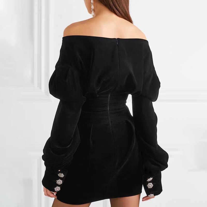 Сексуальное платье с открытыми плечами и v-образным вырезом, мини-Вечерние Платья с бриллиантами, Осень-зима 2019, новые бархатные черные женские платья 10409