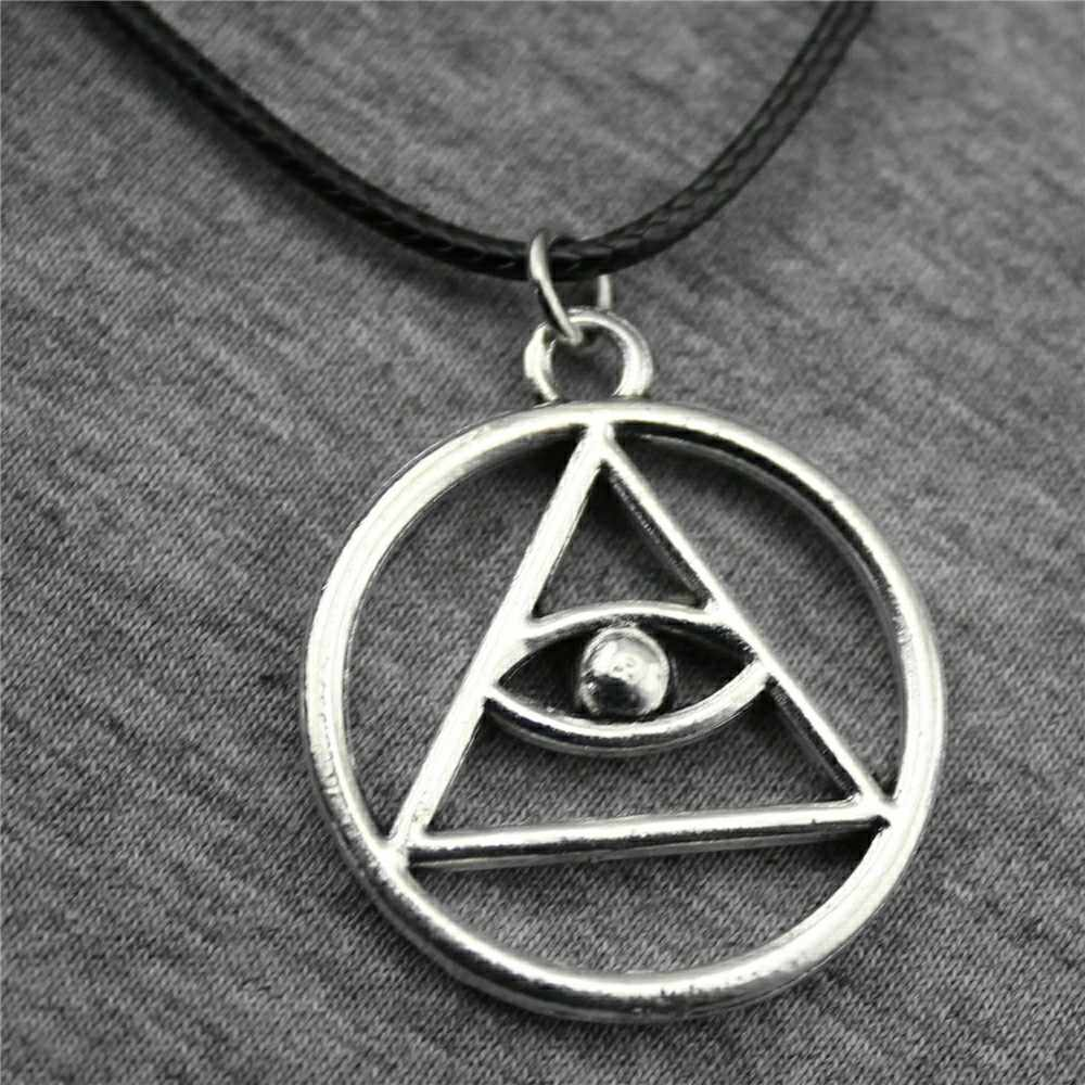 32x28mm Religious Triangle Eye Horus Eye Necklace For Women Leather Chain Necklace Antique Bronze Antique Silver Color