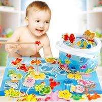 MWZ Alegria Brinquedos Para As Crianças Pretend Play Barril De Madeira de Pesca Magnética enigma 20 PCS DE Peixes Dos Desenhos Animados 2 Varas De Pesca Sem Pintura