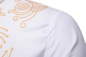 Image 4 - Black Uomo Hommes Kaftan Musulman Kurta Indian Muslim Clothing European Style Muslim Shirt Man Gilding Long Sleeve Novelty Tops