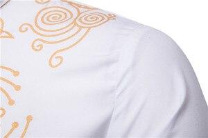 Image 4 - Czarny Uomo Hommes Kaftan Musulman Kurta indyjski odzież dla muzułmanów europejski styl muzułmańskie koszula mężczyzna złocenia z długim rękawem bluzki