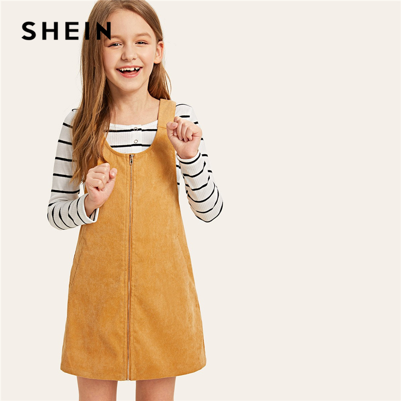 SHEIN Kiddie Ginger Zipper Buckle Strap Back Pinafore Corduroy Girls Dress Kids Clothing 2019 Spring Casual Short Girl Dresses lielang genuine leather mens wallets brand logo zipper design short men purse vintage casual mini male purses card holder walet