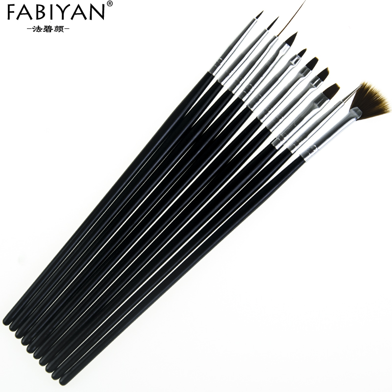 Image 5 - 10Pcs Nail Art Brush Liner Dotting Fan Design Acrylic Builder Flat Crystal Painting Drawing Carving Pen UV Gel Manicure Tool Set-in Nail Brushes from Beauty & Health