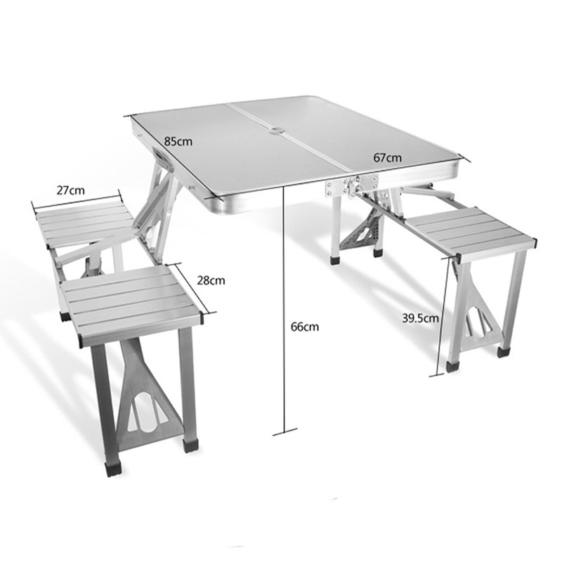 New Folding Table Outdoor Garden Aluminum Portable Camping Tables Picnic With 4 Seats Furniture In From On
