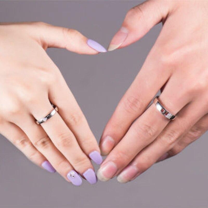 Loverjewelry Vendita Calda Coppie Fedi Nuziali Anelli Serratura E Chiave di Amore Solido 18K Oro Bianco di Fidanzamento Con Diamante Anello di Anniversario - 6