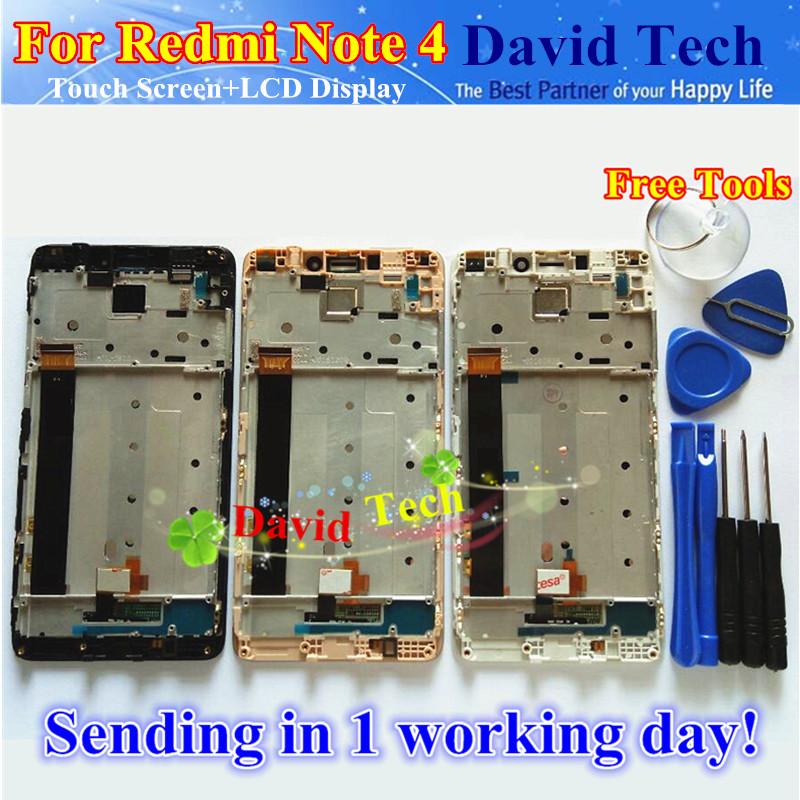 Prix pour LCD De haute Qualité D'affichage + Écran Tactile Digitizer Assemblée Pour Xiaomi Redmi Note 4 Hongmi Note4 Téléphone Portable Avec Cadre Livraison gratuite