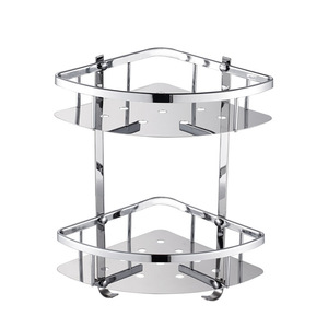 Image 1 - Deluxe 304 Stainless Steel Double Tiers Corner Shower Bright Basket Shelf Tidy Rack Caddy Storage Organizer etagere mural