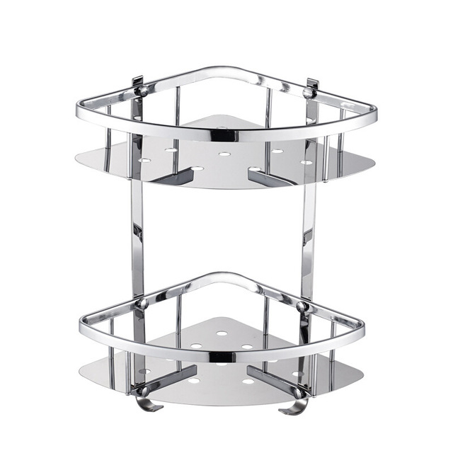 Deluxe 304 Stainless Steel Double Tiers Corner Shower Bright Basket Shelf Tidy Rack Caddy Storage Organizer etagere mural