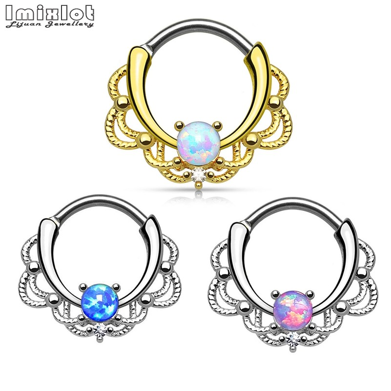 Imixlot 2018 Hot Sale CZ Nose Rings Septum Clicker 16G G23 Titanium Pole Fashion Body Piercing Jewelry BAJ0053