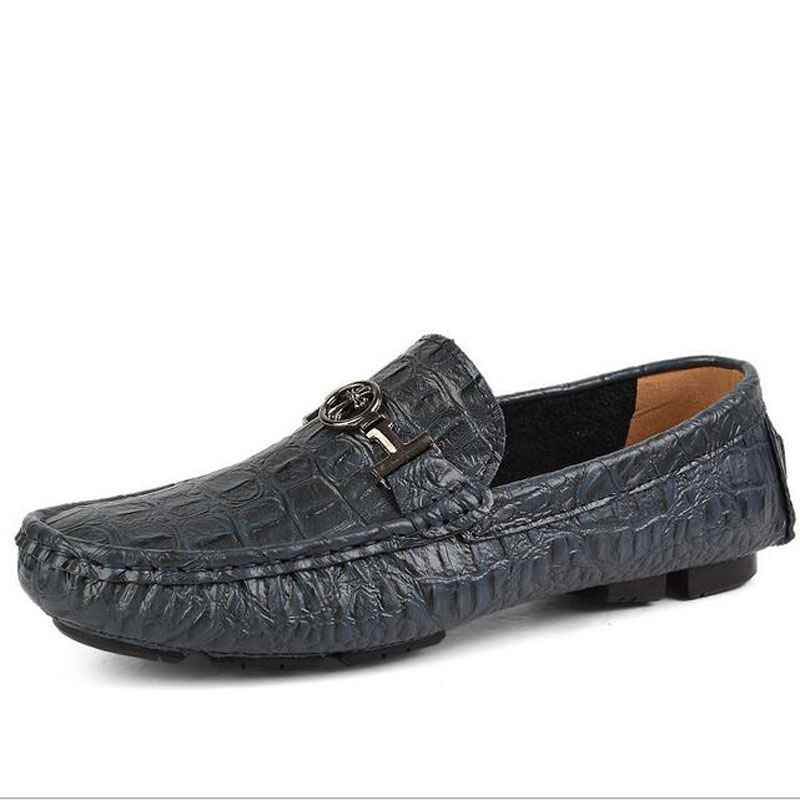 2016 Hot Sale Men Casual Genuine Leather Slip-on Loafers Shoes British Driving Comfortable Flats Lazy Shoes Plus Size EU 35-49 branded men s penny loafes casual men s full grain leather emboss crocodile boat shoes slip on breathable moccasin driving shoes