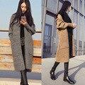 Длинные Pattern Женщины С Длинным Рукавом Кардиган Верхняя Одежда Фонарь Рукав Карман Случайный Компьютер Вязать Свитер Пальто Шерстяное Женщины MA8001
