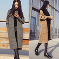 Patrón de Mujer de Manga Larga chaqueta de Punto prendas de Vestir Exteriores larga Manga de la Linterna de Bolsillo Ocasional Ordenador Tejer Escudo Suéter de Lana Mujeres MA8001
