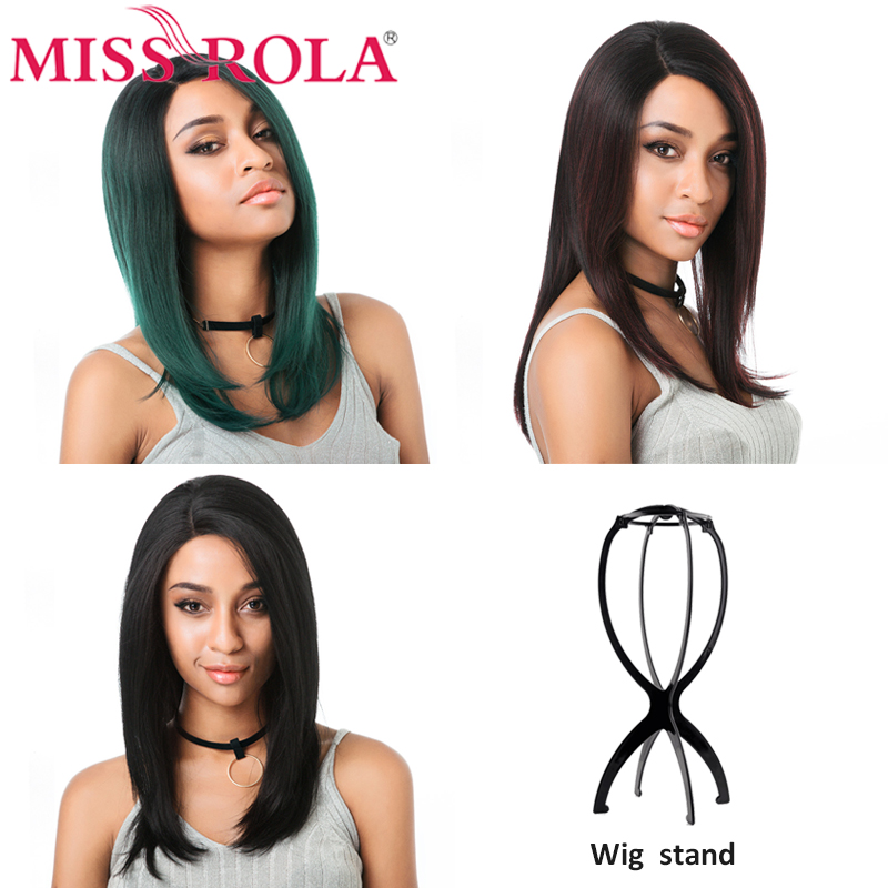 Miss Rola Straight Lace Front Wig Synthetic Lace Front Wig With Wig Stand Wigs For Black Women Side part Lace Front Burgundy