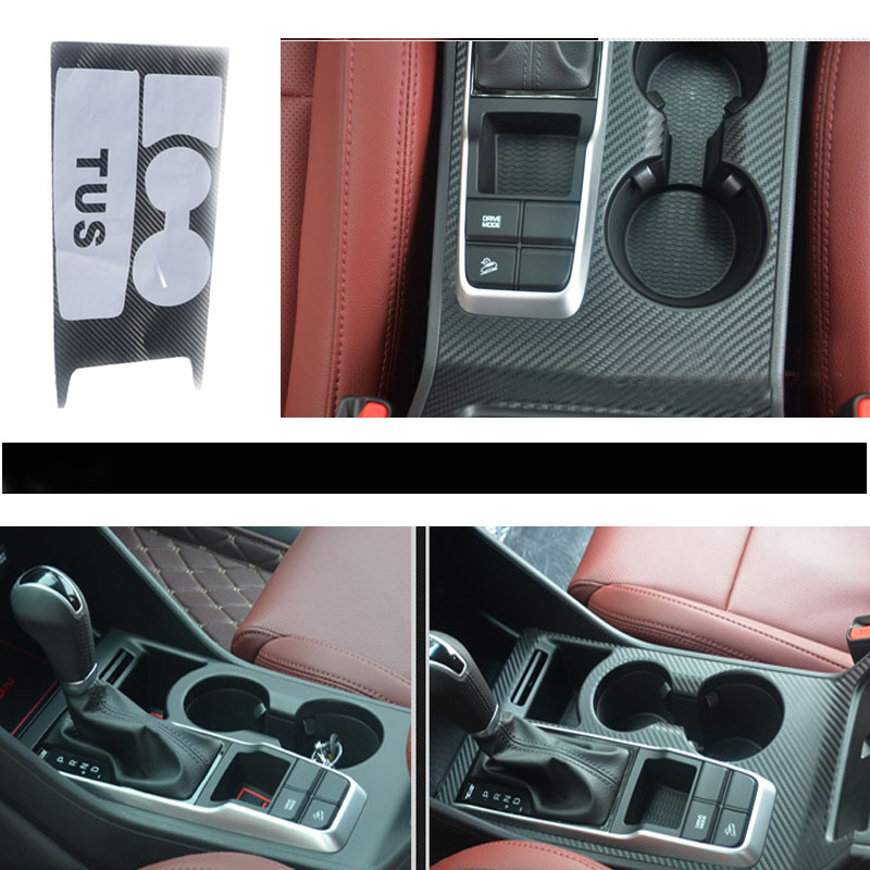 Car Styling Carbon Fiber Stickers For Hyundai Tucson 2018 2017 2016 2015 Accessories AT Gears Shifter Knobs Panel Cup Frame