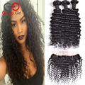 7A Indian Virgin Hair Deep Wave 3 Pcs With Lace Frontal Closure With Bundles Ear To Ear Lace Frontal With Baby Hair And Bundles