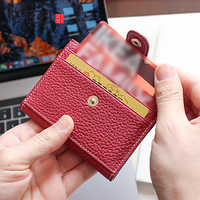 AETOO Head cowhide Buckle card bag Lady leather driver's license mini cute small card set coin wallet