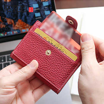 AETOO Head cowhide Buckle card bag Lady leather driver\'s license mini cute small card set coin wallet - DISCOUNT ITEM  50% OFF Luggage & Bags