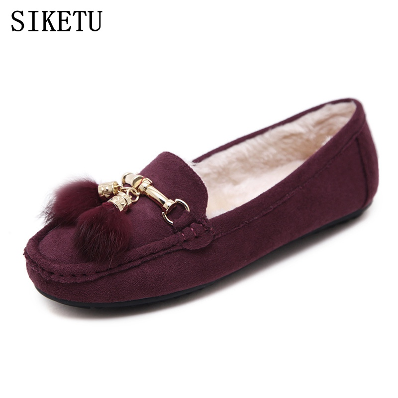 SIKETU Shoes Woman 2017 Autumn Winter Women Fashion Leather Soft Plus Warm Slip On Flat Shoes Ladies Casual Comfort Cotton Shoes jingkubu 2017 autumn winter women ballet flats simple sewing warm fur comfort cotton shoes woman loafers slip on size 35 40 w329