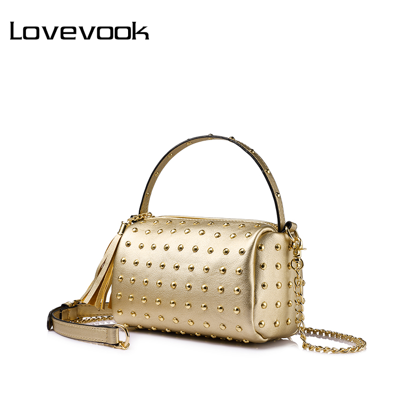 LOVEVOOK women chain shoulder bag for women handbag with rivets female tassel messenger bags mini clutch purse Gold/Black/Red lovevook shoulder messenger bags for women crossbody bag pu female small handbag and purse with tassel fashion zippers designer