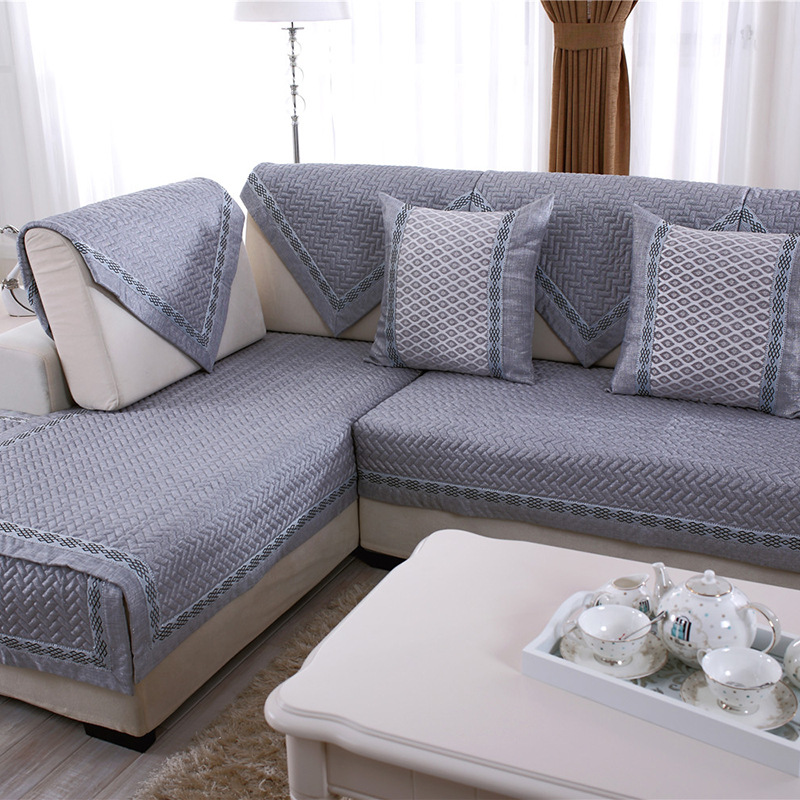 US $7.9 44% OFF|Cotton Linen Fabric Sofa Towel Sofa Cover Modern Style Gray  Color Couch Cover Slipcover Seat for L Corner Sofa Protective Towel-in ...