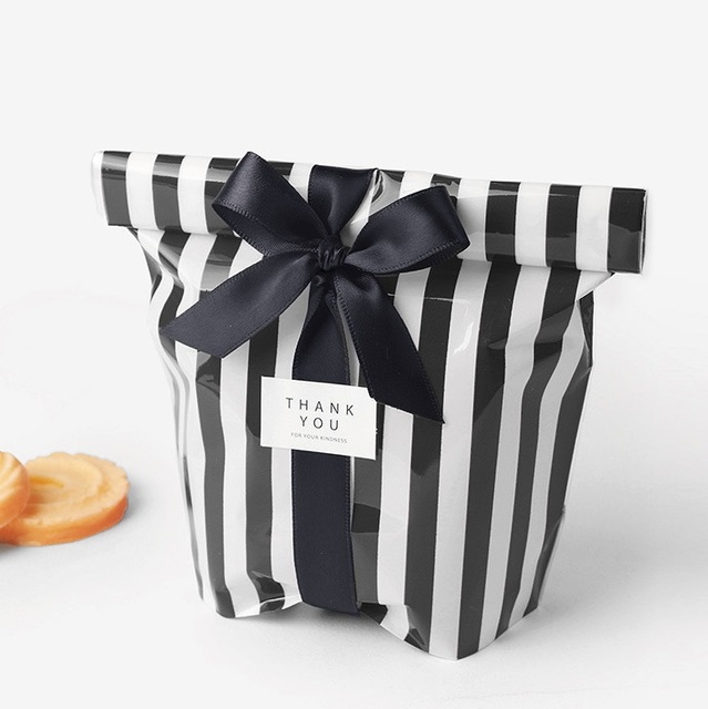 50pcs Black Striped Bag Snacks Plastic Food Bags As Wedding Favor