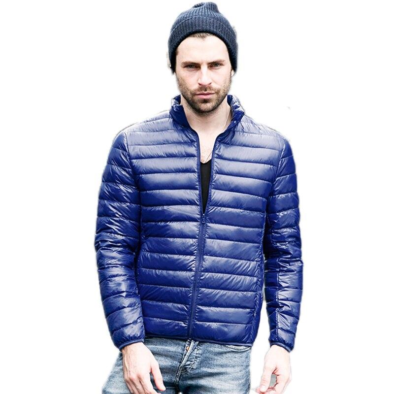 Yeni Kış Ceket Erkekler Katı Ince Campera Hombre Invierno 2016 Kısa Parka Erkekler Rahat Artı Boyutu Moda Erkek Ceket Aşağı Ördek 90%