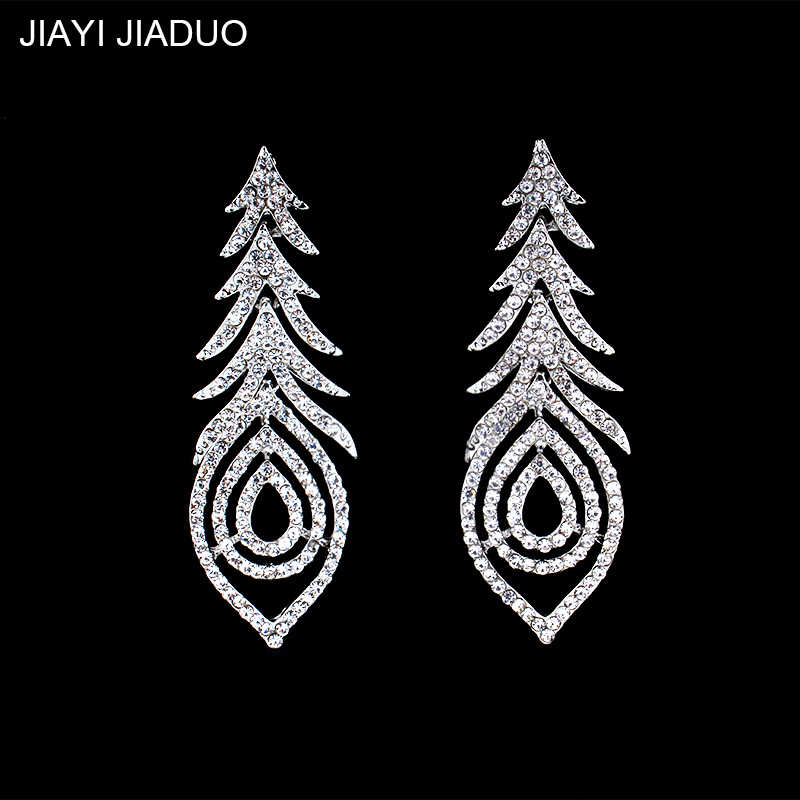 Jiayi Jiaduo Bride Wedding Jewelry Crystal Earrings for Noble Women's Clothing Accessories Plant-type Long Earrings Bridesmaid