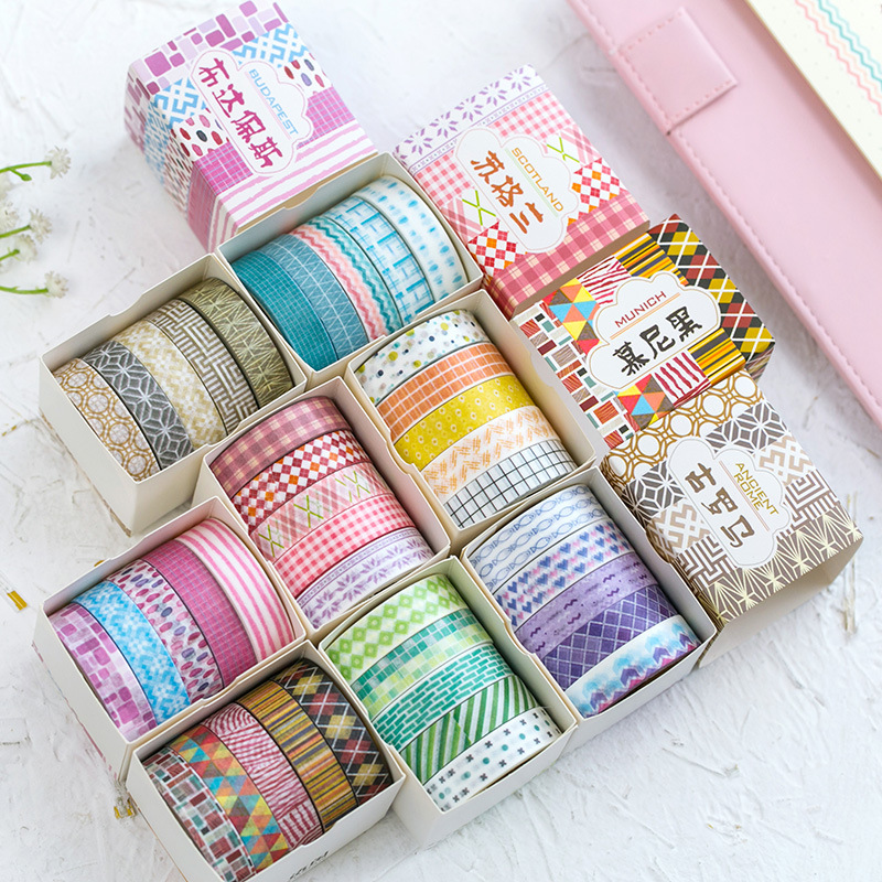 Blue Purple Pink Yellow Collage Washi Tape Adhesive Tape DIY Scrapbooking Sticker Label Masking Tape , 5 Rolls/set