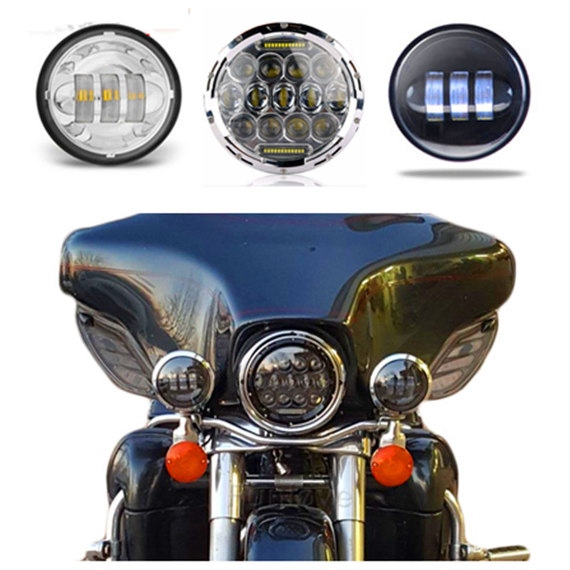 With DRL 7 headlight For Harley Davidson Motorcycle H4 Led Headlamp & 4.5 LED Passing lamp spotlight For Harley Moto Lighting