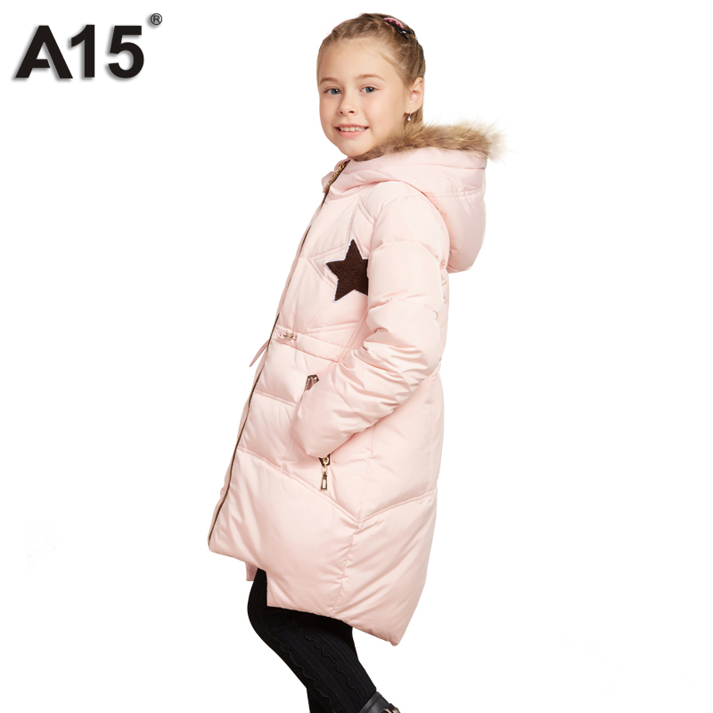 A15 Girls Jackets Winter 2017 Warm White Duck Down Jacket for Girl Coat Kids Clothes Solid Long Hooded Outerwear 8 10 12 14 Year a15 girls down jacket 2017 new cold winter thick fur hooded long parkas big girl down jakcet coat teens outerwear overcoat 12 14