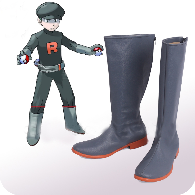 Pokemon Team Rocket Grunt Cosplay Shoes Boots Halloween Carnival Party Costume Accessories(China)
