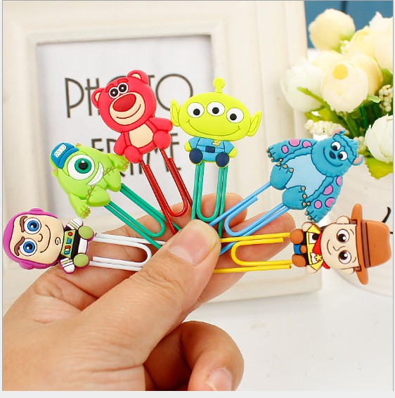 1pcs Cartoon PVC Toy Story Monsters University Bookmark Paper Clips Student Stationery Memo Clip Kids Toy Gift