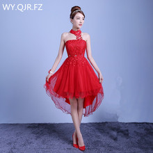 ZX D48ZS#2019 new summer short long before after shortparagraph a bride bridesmaid dresses wedding dress female toast Red purple