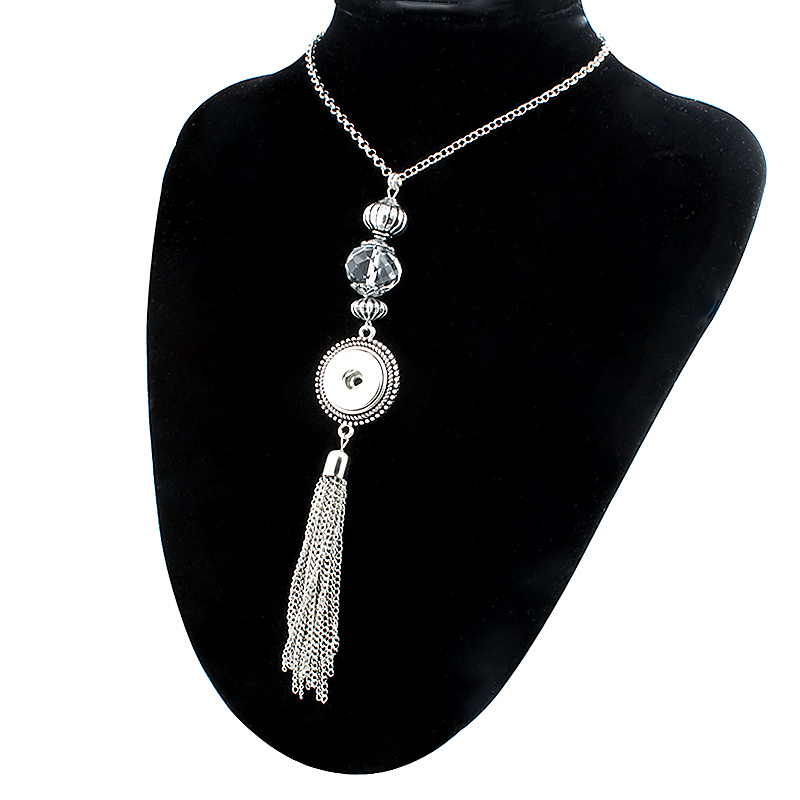 NEW Trendy Ethnic Style Crystal Tassel Pendant Snap Necklace With Chain Fit DIY 18MM Snap Buttons Jewlery Wholesale Women ZG016