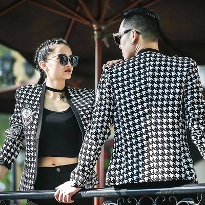 100%real mens fashion Houndstooth/swallowgird event/stage performance short tuxedo jacket/stage performance/ASIA SIZE