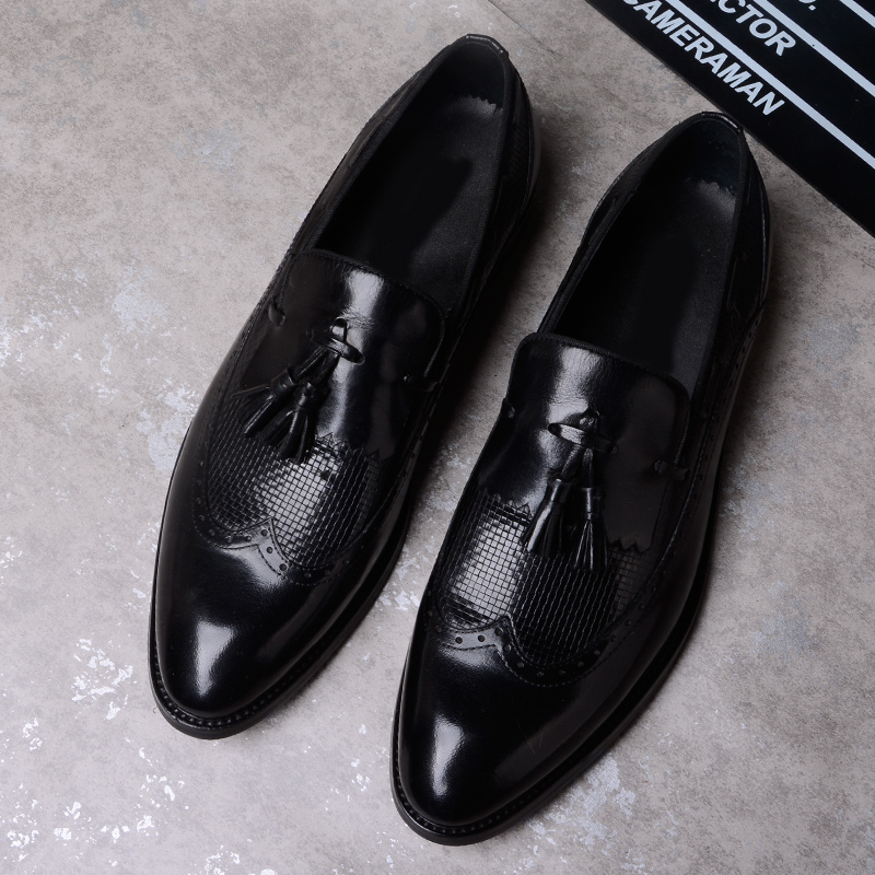 Men Business Shoes Genuine Leather Comfortable Slip-On Fashion Flats with Tassel Men Dress Shoes Oxford Shoes for Men Breathable npezkgc men dress shoes slip on black oxford shoes for men flats leather fashion men shoes breathable comfortable zapatos hombre