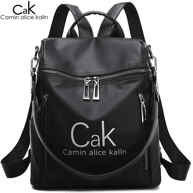 Cak Luxury Brand Women Backpack Bags Black Nylon Waterproof High Quality Travel Backpack For Young Lady College Style Female Bag