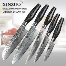 5 stücke küchenmesser set Japanischen VG10 damaststahl küchenmesser set cleaver chef utility hammer striae schmiede kostenloser versand