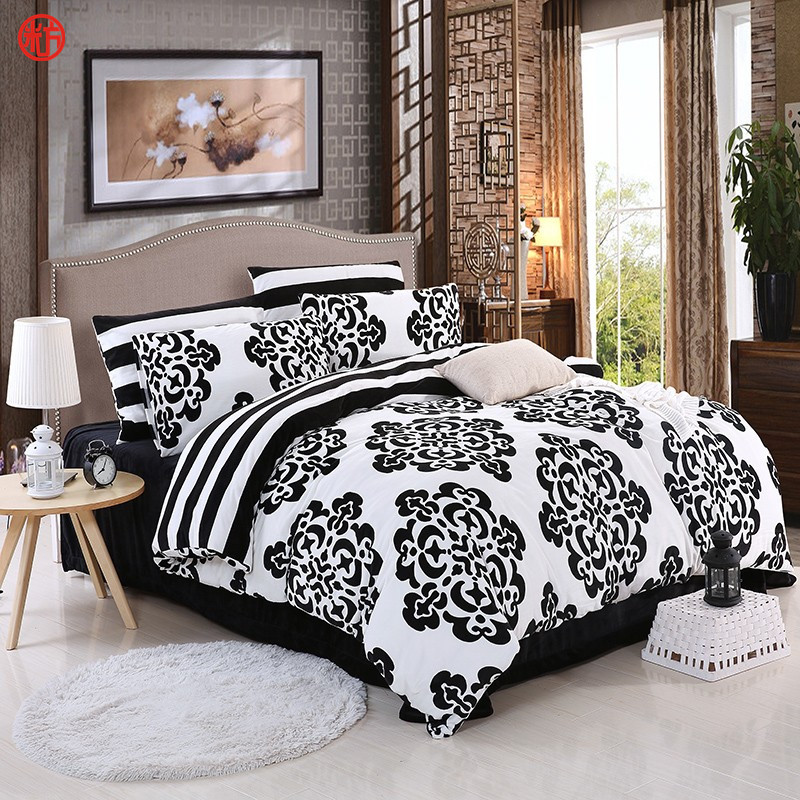 White and black flower bedding flower white home textile black and white bedding set king size duvet cover winter warm soft crystal velvet mightylinksfo
