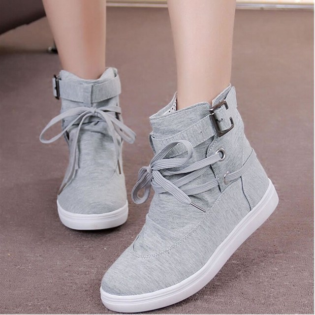 Women's Canvas Fashion Sneakers Lace Up Casual High Top Sport Creeper Shoes