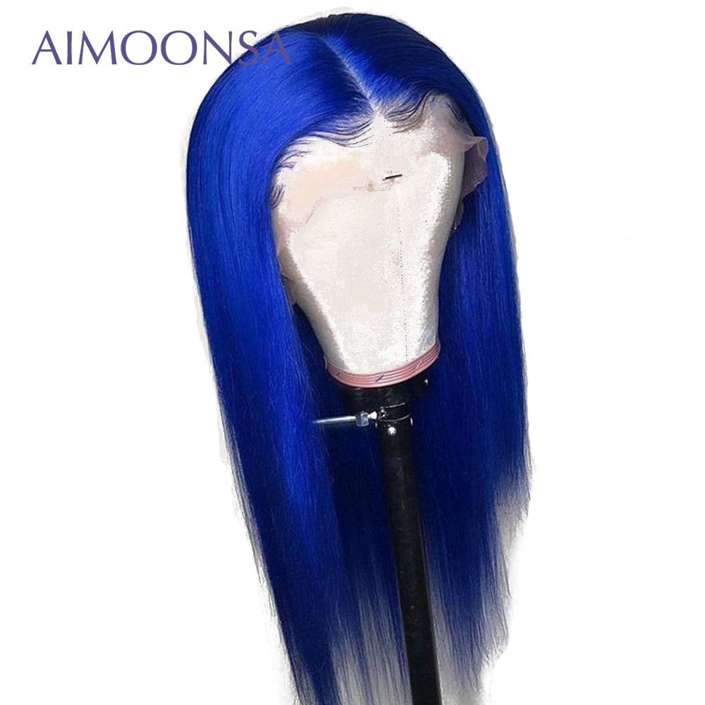 ブルー色のかつら人毛ウィッグ女性グルーレス完全なレースのかつら 13 × 6 深部ストレートレースフロント人毛かつらレミ Aimoona  グループ上の ヘアエクステンション & ウィッグ からの レース フロント ウィッグ の中 1